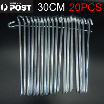 30CM Heavy Duty Durable Steel Metal Tent Stakes Camping Gazebo Pegs Hooks 20X AU
