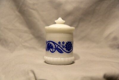 Vtg Milk Glass White & Blue Floral Frenchs Mustard Promo Condiment Jar with Lid