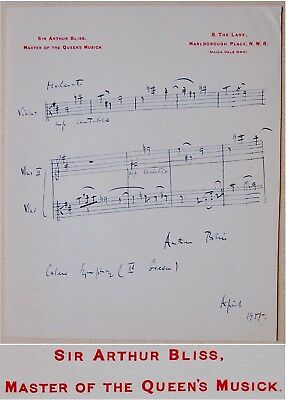 Composer ARTHUR BLISS Hand SIGNED AUTOGRAPH Long MUSICAL QUOTE 3 Full LINES