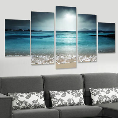 Sunset Seaside Canvas Print Art Painting Home Decor Wall Picture 5 Pcs
