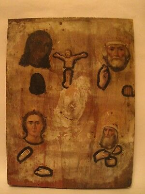 Antique 19c Russian Orthodox Hand Painted Icon Christ crucified, Nicholas Wond.