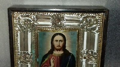 Antique 19c Russian Orthodox Hand Painted on wood Icon Christ Pantocrator