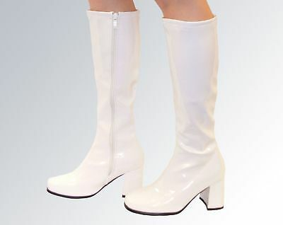 New Knee High Boots - 60's 70's Go Go Fashion Boots White Patent - Size 3-8 UK
