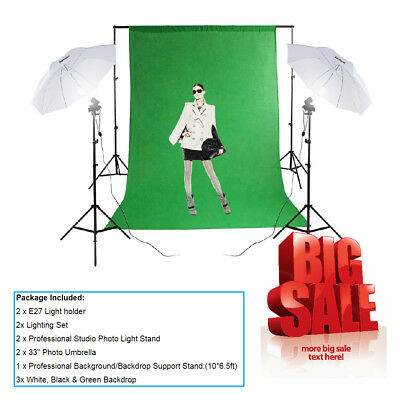 Photography Studio Backdrop Umbrella Lighting Kit +Background Support Stand +Bag