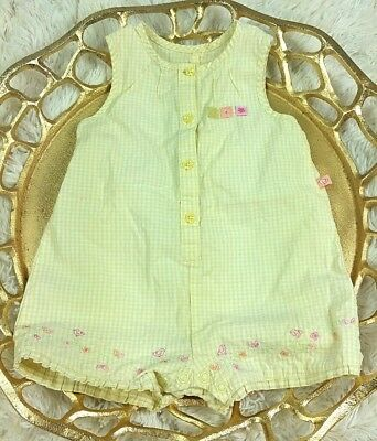 Child Of Mine Carters Bubble Romper 12 Months Baby Girls Gingham yellow floral