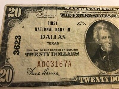 1929 $20 First National Bank  DALLAS TX Texas Ch. 3623 Type 1 Serial #3167