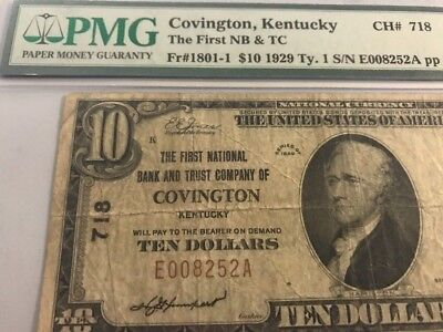 1929 $10 COVINGTON, KY Kentucky National Banknote PMG 20 Scarce