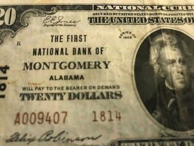 1929 $20 First National Bank MONTGOMERY, AL ALABAMA TYPE 2 Ch. 1814