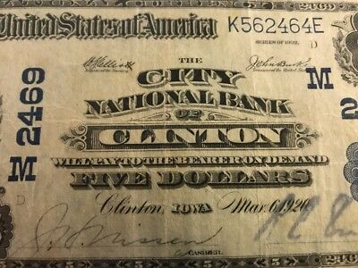1902 $5 DOLLAR CITY NATIONAL BANK, CLINTON, IOWA IA CH 2469 Serial 8868