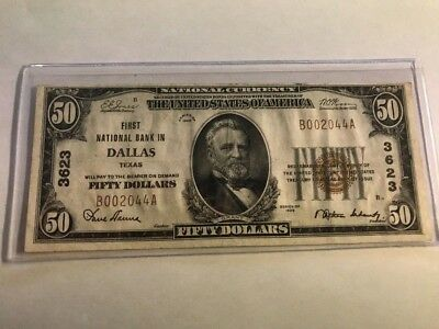 1929 $50 National DALLAS, TX TEXAS AWESOME GRADE Ch 3623
