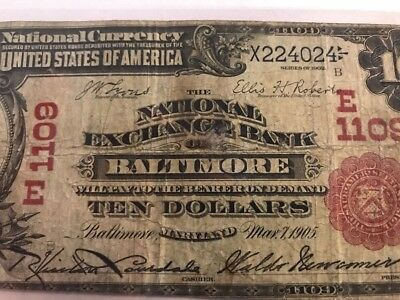 Rare 1902 Red Seal Baltimore Md Maryland National Exchange Bank Charter 1109