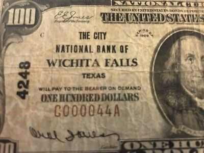 ULTRA RARE 1929 $100 Charter 4248 WICHITA FALLS, TX TEXAS Serial #44