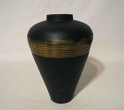 "Beautiful Mixed Metal Art Deco Vase Steel & Copper Unmarked 7 1/2"" Tall"