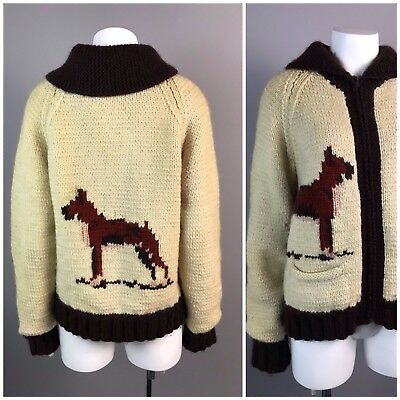 Vtg 50s 60s Shawl Collar Cowichan Boxer Dog Novelty Zip Up Sweater Jacket S/M