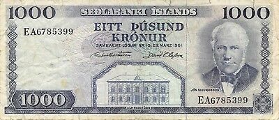 Iceland  1000  Kronur  L. 29.3.1961  P 46a  Series  EA  Circulated Banknote MIX1