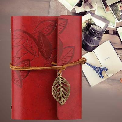 Retro Vintage Diary Notebooks Leather Leaf Blank Soft Cover Sketchbook New WR GA