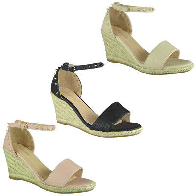 4eefcdd471af Womens Ladies Ankle Strap Espadrilles Platform Shoes Mid Heel Wedge Sandals  Size