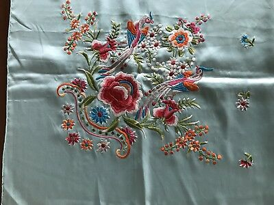 Vintage Hand Embroidered Chinese Silk Scarf Panel Birds Bats Flowers