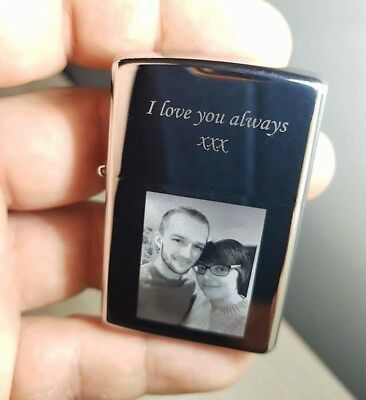 Personalised Photo And Text Engraved Lighter Customized Polished  + Free Gift
