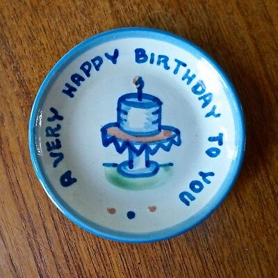 M. Hadley HAPPY BIRTHDAY  Pottery Dish  1 Candle  Mint