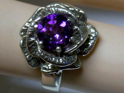 NATURAL 1.50ct purple amethyst flower antique 925 sterling silver ring size 8