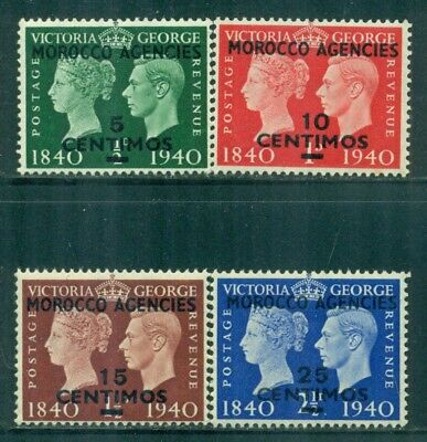 MOROCCO AGENCIES 89-92 SG172-75 MNH 1940 KGVI 100th Anniv Stamp set of 4 Cat$6