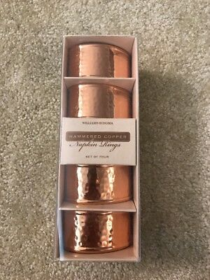New Nib Williams Sonoma Hammered Copper Napkin Rings Lot Of 4