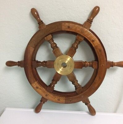"""Vintage Wood and Brass Ship Steering Wheel Wall Decoration - 18"""""""