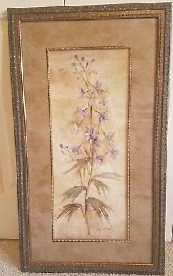 "Kohl's Wall Art Matted Lavender Flower Picture w/Metal Frame 32 3/4"" x 18 3/4"""