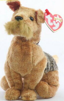 NWT Ty WHISKERS Airedale Terrier Beanie Babies Dog MINT with MINT TAGS Rare