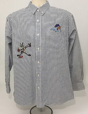 Looney Tunes Roadrunner and Wile E. Coyote Long Sleeve Button Down Shirt Medium