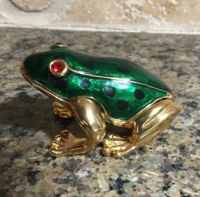 Trinket Box Green Frog With Gold And Jeweled