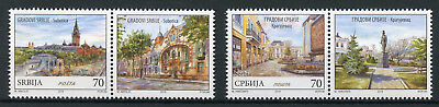 Serbia 2018 MNH Cities Subotica Kragujevac 2v Set + Label Architecture Stamps