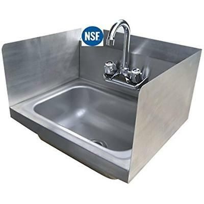 """Stainless Commercial Restaurant Sinks Steel Hand With Side Splash - NSF 16"""" X"""