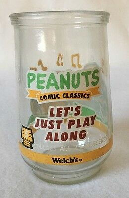 """Welch's Peanuts Comic Classic """" Let's Just Play Along """" Jelly Jar"""