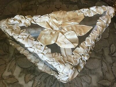 Antique French late 1800's vanity or hankie box glass with silk ribbon work