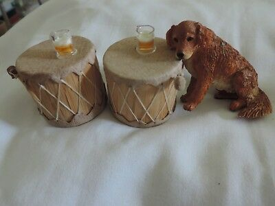 Two Drum Tables With Glass Of Beer & Golden Retriever Pet Dog