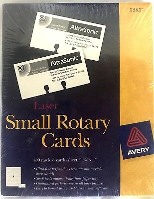 Avery 5385 Laser Printer Small Rotary Cards 400 Rolodex NWT USA
