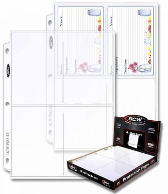 (200) BCW PRO 4-POCKET PHOTO BINDER PAGES 3.5 x 5.25