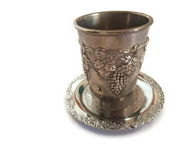 Vintage Pewter Judaica Kiddush Silver Plated Wine Goblet Cup Kitchen Decor art