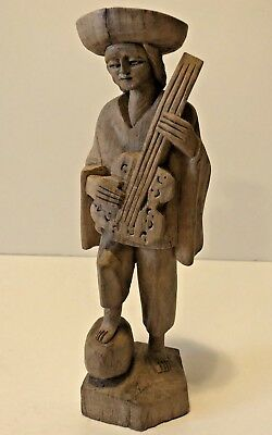 "Vintage Hand Carved Man Playing Guitar Musical Instrument 8"" Tall"