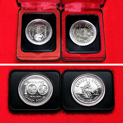 1974 & 1975 Canadian Commemorative Silver Dollars (2 Silver Coins) + Boxes Unc