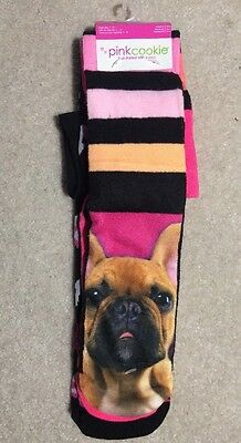 Pink Cookie Girls Knee High Dog/Hearts/Crowns 3 Pr Socks - Shoe Size 4-10 - NEW