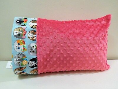 NWT Cat Pink Minky Dot Toddler Pillowcase 12 x 16 Kitten Soft Kitty Animal