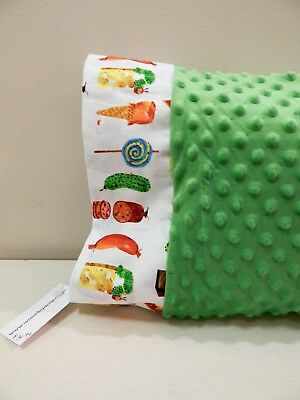 NWT Hungry Caterpillar Green Minky Dot Toddler Pillowcase 12x16 Food Butterfly