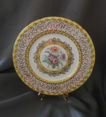 "Coalport Yellow Floral Embossed White 10 1/2"" Dinner Plate Gold, England"