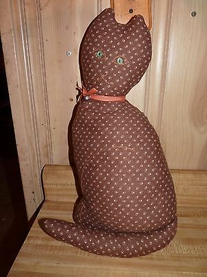 "Brown Cat Shaped Pillow, 18"" tall, orange ribbon collar with bell"