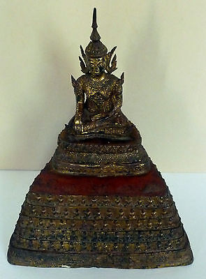 Large Antique Gilt Bronze Thai Buddha In Royal Dress Rattanakosin Period C.1900