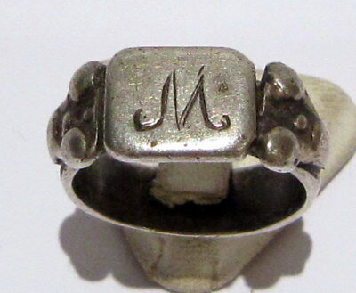 """AMAZING SILVER MEN'S RING FROM 18/19 th c.WITH MONOGRAM """"M"""" ON THE TOP  # 85C"""