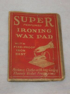 Vintage Antique 1920s Era Super Perfumed Ironing Wax Pad For Clothing Irons Rare